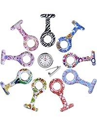 JSDDE Set 9pz Relojes Enfermera (1x Cuarzo + 9x Fundas de silicona con pinza de sujeción higiénicas + 9x Broches), Juego del Reloj de Enfermería