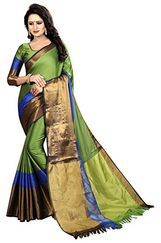 Perfectblue Women's cotton Silk Saree With Blouse Piece (DarkGreen3D)