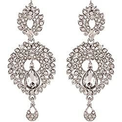 I Jewels Traditional Rhodium Plated Austrian Diamond Dangle & Drop Earrings For Women E2200Zw (White)