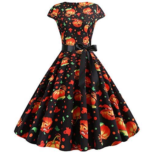 Plus Size Frauen Neue Halloween Kürbis Print Kleid Rundhals Reißverschluss Hepburn Party Kleid Cosplay Karneval Party weiblichen Anzug