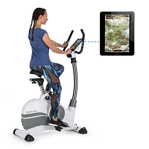 Capital Sports Arcadion • Gaming Bike • Heim-Trainer • Fitness-Fahrrad • Tablet-Halterung • Bluetooth • Pulsmesser • Steuerung am Lenker • 9-Fach höhenverstellbar • USB-Slot • max. 120 kg • weiß