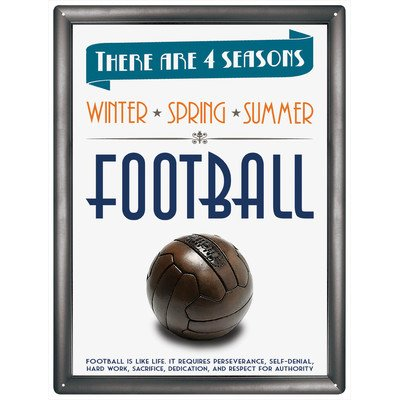 "Red Hot Lemon 300 x 400 mm Tinplate/Metal ""4 Seasons Football"" Wall Sign, Multi-Colour"