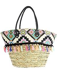 Ideal Shoes - Panier de plage imprimé ethnique avec pompons Elenia Noir