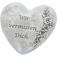 DARO DEKO Trauer Deko Herz Mit Rosen   Wir Vermissen Dich