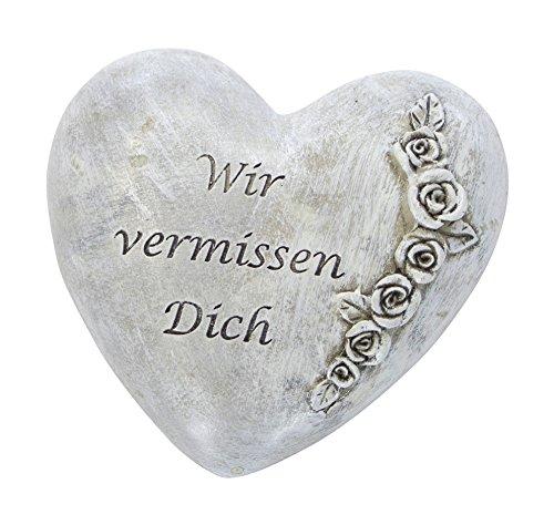 DARO DEKO Trauer-Deko Herz mit Rosen - Wir vermissen Dich