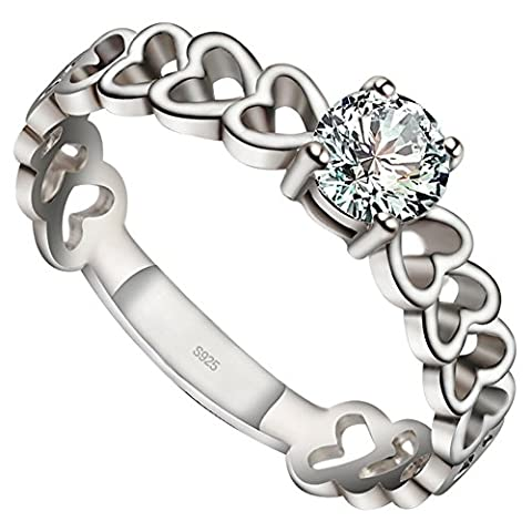 Meixao Meixao Jewellery 925 Sterling Silver Womens Ring, Love Heart, Color Silver (with Gift Box)