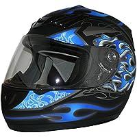 Protectwear Casco de moto mate azul / llamas azules H-510-GR Tamaño S