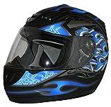 protectWEAR Motorradhelm, Integralhelm, Flammendesign (Matt-Blau/Schwarz), M