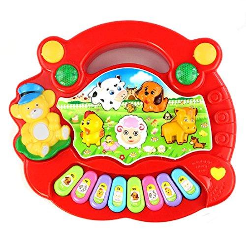 Tongshi Nueva Útil populares del cabrito del bebé animal del campo de la música del piano de juguete rojo del