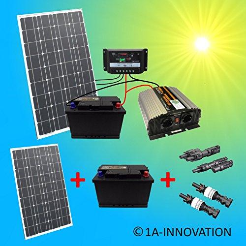 Komplette 220V Solaranlage TÜV mit 2x 100Ah Akkus 200W Solarmodul 1000W Spannungswandler Gartenhaus NEU Solar Garten Set Camping Wohnmobil Inselsystem Solarzelle Solarzelle 230V Volt Watt 100 200 Ah