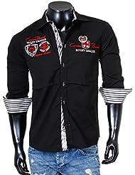 Carisma Herren Hemd mit Stickerei und Kontrast Manschette Knopfleiste Casual Freizeit Party Club langarm Männer Shirt bestickt 8004