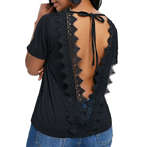 CICIYONER Blusa Encaje O-cuello abierto espalda sin respaldo del vendaje de encaje camiseta Tops blusa (Negro, XXL)