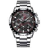 SPOTALEN Herren Armbanduhr Analog Quarz Wasserdicht mit Silber Edelstahl 9821M