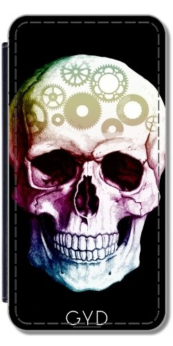 DesignedByIndependentArtists Leder Flip Case Tasche Hülle für Samsung Galaxy S9 Plus (SM-G965) - Tattoo Schädel Halloween by WonderfulDreamPicture