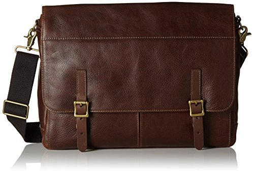 Bag Fossil Messenger Leder (Fossil Herren Defender Business Tasche, Braun (Brown), 8x30x38 cm)