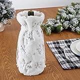 2 Stück Rotwein Weinflaschen Set Plüsch Taschen Schneeflocken Pailletten Deko Geschenk Beutel Weihnachts Tischdekoration Weihnachtlicher Zierschmuck 32x9x9cm