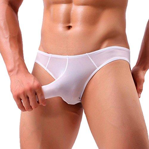 Boxer Briefs Herren Ronamick Sexy Mens Elephant Bulge Briefs Unterwäsche Beutel T Dessous Unterhose Shorts (L, Weiß) -