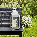 Casa Vivente Edelstahl Laterne mit Gravur für das Grab - Trauerlicht - Personalisiert mit [Namen] und [Datum] - Trauerspruch - Silberne Laterne als Dekoration für Draußen - Grablicht mit Inschrift - 3