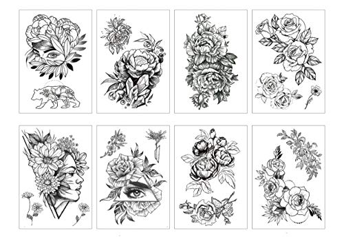 Spestyle 8pcs / package Sexy Floral Temporary Tattoos für Damen Herren Black Rose Flowers Collection