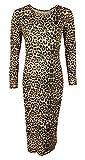 Islander Fashions Womens Impreso Bodycon Vestidos Midi Ladies Manga Larga El�stico Midi Dress Marr�n Leopardo M/L