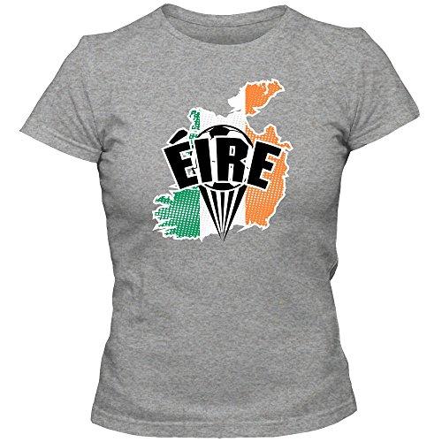 Irland WM 2018#1 T-Shirt | Éire | Fußball | Damen | The Boys in Green | Trikot | Nationalmannschaft, Farbe:Graumeliert (Grey Melange L191);Größe:L -