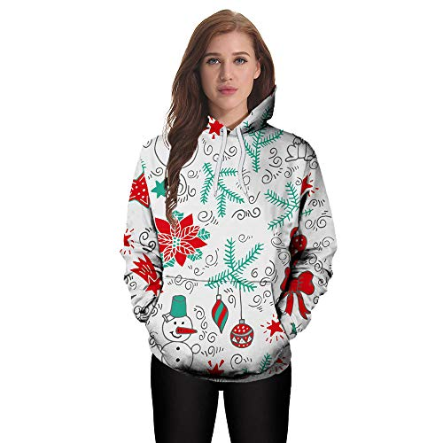 Hmeng Weihnachten Unisex Realistische 3D Digital Print Pullover Hoodie Kapuzenpulli (Weiß, XL)