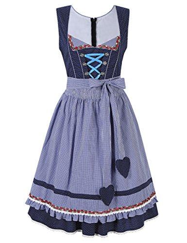 KoJooin Trachtenkleid midi Dirndl Set 2 Teilig mit Schürze (Ohne Bluse) Damen Kleid für Oktoberfest Blau
