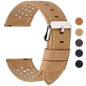 Fullmosa 6 Farben für Uhrenarmband mit Schnellverschluss, Breeze Serie Leder Ersatzband geeignet für Armbanduhr Herren&Damen 18mm 20mm 22mm 24mm