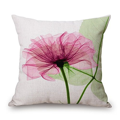 SODIAL(R) 45x45cm Modern Ink Painting Flower flax Throw Pillow Case Waist Cushion Cover pink and Green