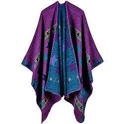 Aivtalk - Poncho de Punto para Mujer Estampado Estrellas Capa Étnica de Lana de Gran Tamaño Chal Cárdigan de Punto Manta Bufanda 130 x 150 CM - Morado