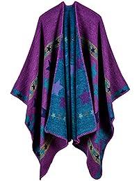 Aivtalk - Poncho Estampado Estrella Étnico para Mujer Capa de Lana para Invierno Calentito Elegante Cárdigan de Punto Estilo Retro Casual Simple 130 x 150 CM