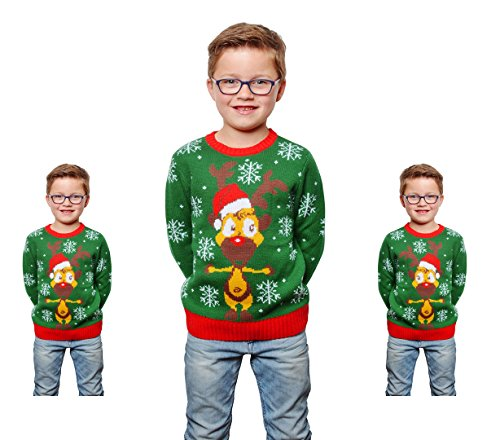 Weihnachts Pullover Rentier Ugly Christmas Sweater Pulli Weihnachten Grün (Weihnachten Vorbei Kostüm)