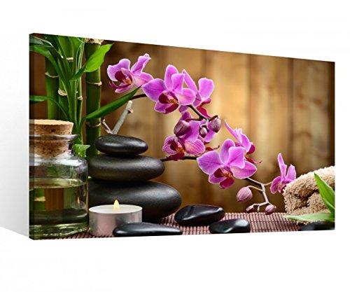 Leinwandbild 1 Tlg XXL Wellness Öl Massage Steine Feng Shui Spa Orchidee Blume Leinwand Bild Leinwandbilder Holz 9O722, XL 1Tlg BxH:100cmx60cm - Massage Wellness Steinen