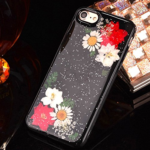 Pour iPhone 6 / 6s, Epoxy Dripping Pressed Real Dried Flower Soft TPU Housse de protection arrière JING ( SKU : Ip6g2295g ) Ip6g2295c