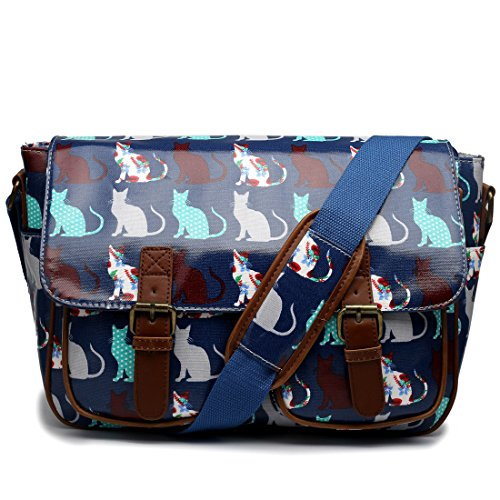 Miss Lulu , Damen Schultertasche Cat Navy