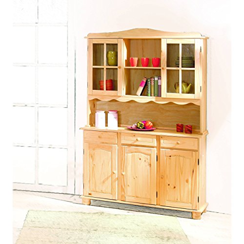 gro e vitrine mit 3 t ren 3 schubladen 2 glast ren kiefer massiv farblos. Black Bedroom Furniture Sets. Home Design Ideas