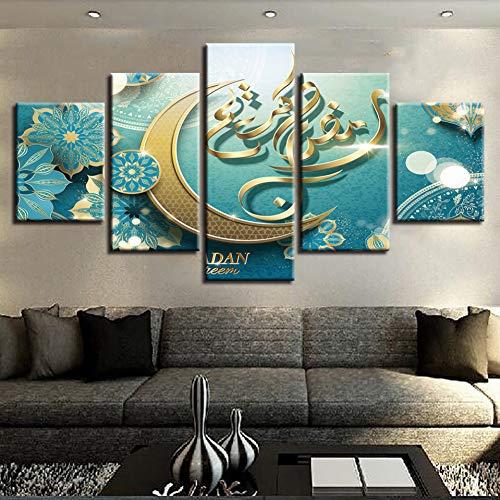 ZYBKOG Leinwandbild 5 Leinwand Poster Gedruckt In Hd Wohnzimmer Dekoration Rahmen 5 Stücke Islam Allah Die Gemälde des Koran Mond Muslimischen Bilder Modulare Wandkunst