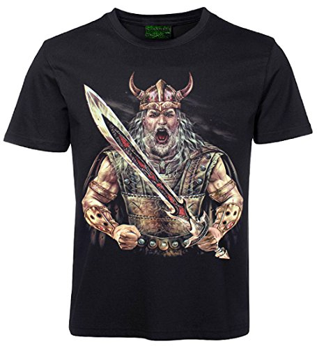 Skull HD T-Shirt Wikinger Häuptling Schwarz