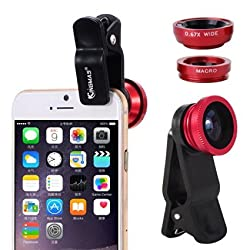 colour blind Clip-On 3 in 1 Mobile Cell Phone Camera Lens Kit, 180 Degree Fisheye Lens + 0.67X Wide Angle + 10X Macro Lens, With 2 Lens Clip Holders, Black