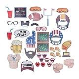 BESTOYARD Fotorequisiten Fotoaccessoires Fußball Super Bowl Bier Form Sport Fußball Thema Party Fotobooth Zubehör Dekoration 36 Stück