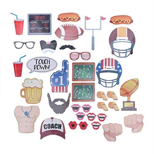 BESTOYARD Super Bowl American Football Foto Booth Requisiten Kits für Sportveranstaltungen Gefälligkeiten Rugby Party Supplies 36 Stücke