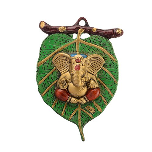 eCraftIndia Lord Ganesha in Red Dhoti on Green Leaf Wall Hanging