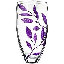 Jarrón de cristal soplado a mano de lujo, decorado con hojas de arena y pintado