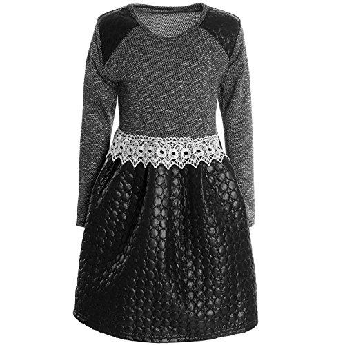 Mädchen Kinder Spitze Winter Kleid Peticoatkleid Festkleid Lang Arm Kostüm 20754, (Moderne Elsa Kostüm)