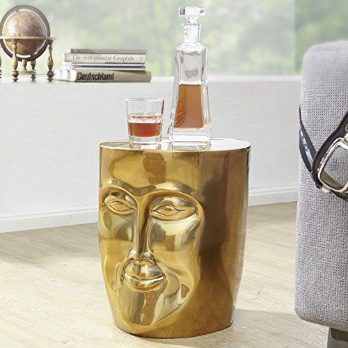 FineBuy Beistelltisch Maka 32,5x39x35 cm Aluminium Couchtisch Gold Orientalisch | Sofatisch mit Gesicht aus Metall | Designer Ablagetisch Modern | Kleiner Anstelltisch Schmal