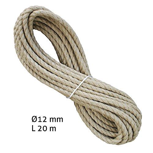 Liros Historic Seil ø 12 mm, 20 m lang, 3-schäftig gedreht, Hanfseil bzw. Naturseil Optik, jedoch mit besseren Eigenschaften