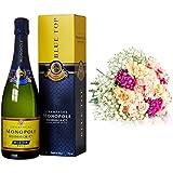 Monopole Heidsieck Blue Top Brut Champagner + MIFLORA Blumenstrauß Großes Glück | Entworfen von der Europameisterin