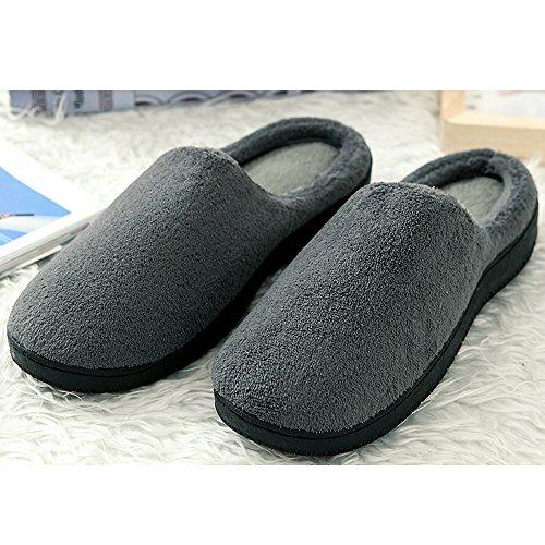 Alxcio Hausschuhe Wärmendem Fleece Hausschuhe mit Gummisohle Pantoffeln für Unisex Herren Damen (43-44.5 EU/9-10 UK, Grau) Grau