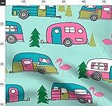Vintage, Wohnmobil, Flamingo, Retro, Wohnwagen, Stoffe -