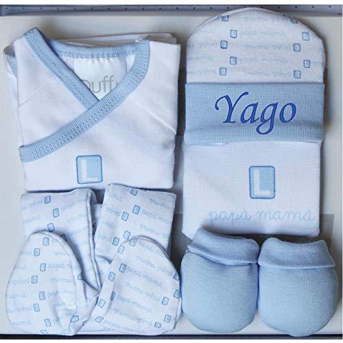 """Set Regalo Primera Puesta Personalizado""""Mamá y Papá L"""": Gorrito Personalizado + Manoplas + Pantalón + Camiseta + Babero, Color Azul"""